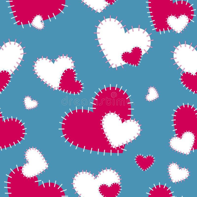 Vector das nahtlose Muster, das mit den roten und weißen Herzen auf einem blau-grauen Hintergrund genäht wird Scrapbooking-Papier lizenzfreie abbildung