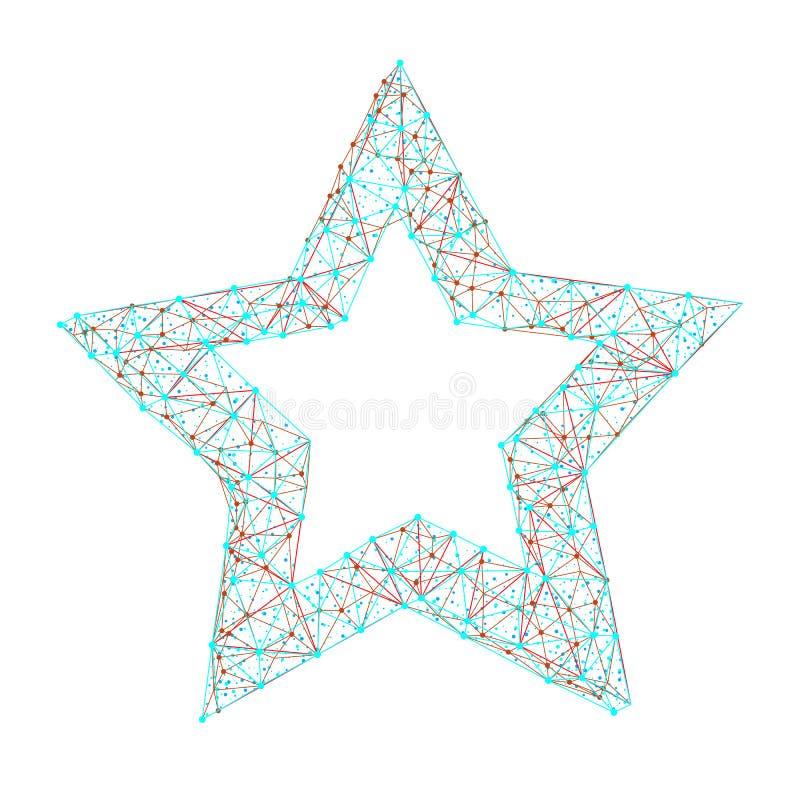 Vector das polygonale abstrakte Bild des Sternes den Punkten, Punkten und aus Linien bestehend, die auf weißem Hintergrund lokali vektor abbildung