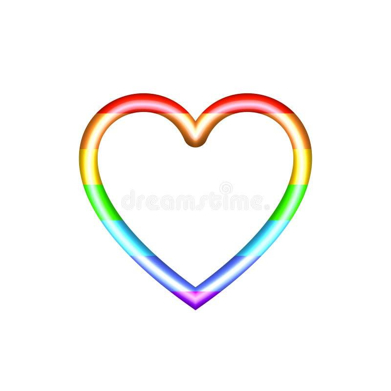 Vector das Regenbogen farbige Herz, das auf dem weißen Hintergrund lokalisiert wird und glänzen Schablone der Ikonen-3D stock abbildung