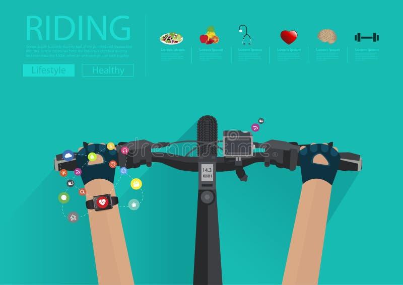 Vector das Reiten eines Fahrrades mit dem Tragen einer smartwatch Herzfrequenz lizenzfreie abbildung