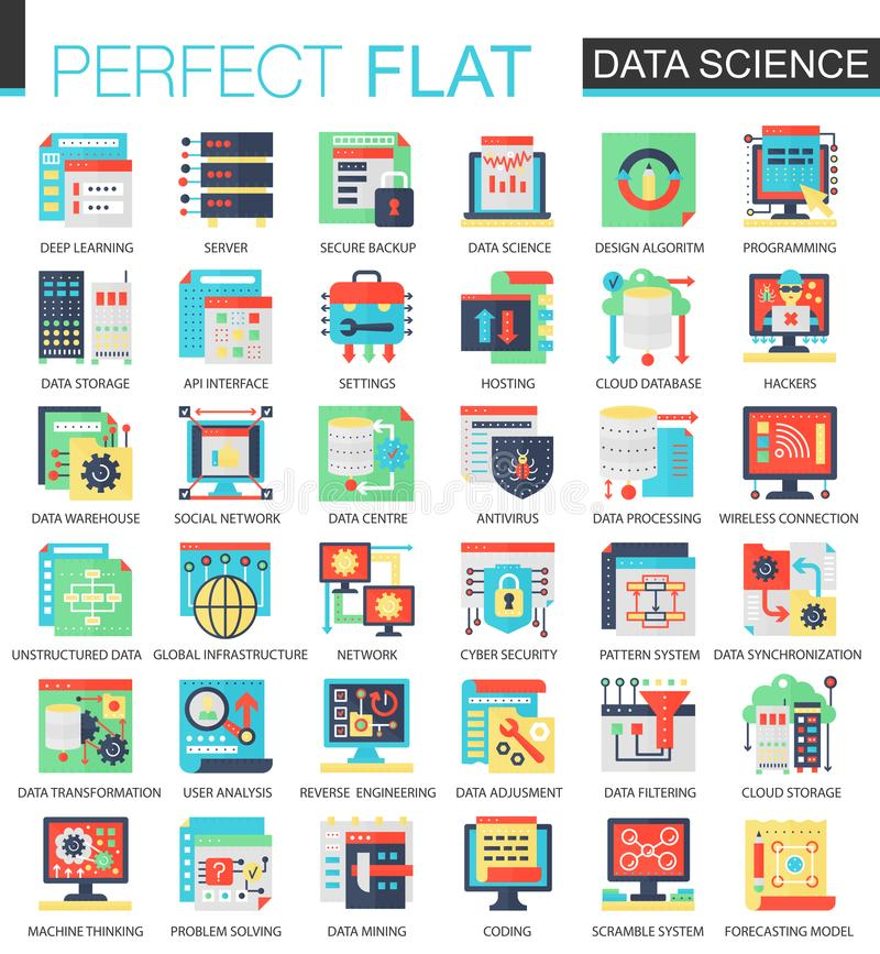 Vector Data science complex flat icon concept. Web infographic icons design. stock illustration