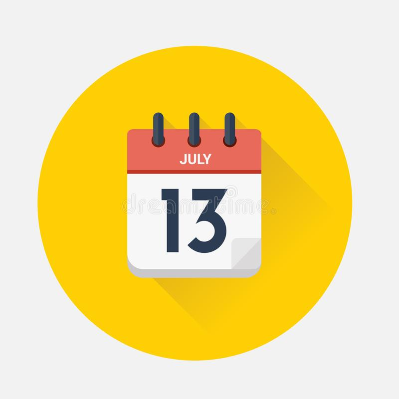 Vector of Day calendar with date July 13, 2018 royalty free illustration