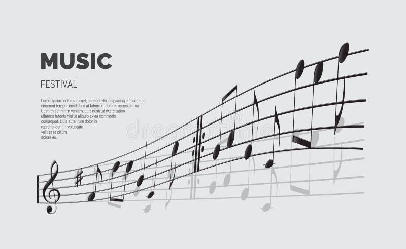 Vector de aankondigingsmalplaatje van het muziekfestival De tekst van het muziekfestival met notagolf stock illustratie