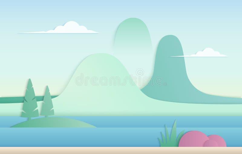 Vector in de aardillustratie van de gradiëntkleur De bergen met rivierdocument snijden landschap vector illustratie