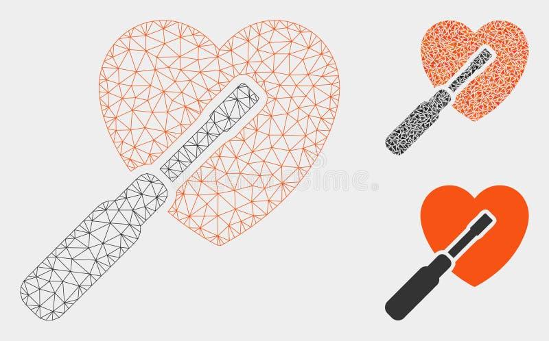 Vector de adaptación Mesh Carcass Model del corazón e icono del mosaico del triángulo libre illustration