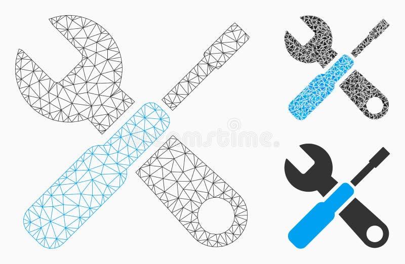 Vector de adaptación Mesh Wire Frame Model de las herramientas e icono del mosaico del triángulo stock de ilustración