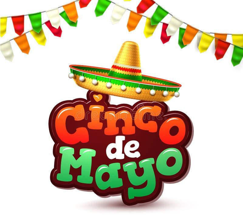 Vector de affichebanner van de cincode Mayo Mexicaanse partij royalty-vrije illustratie