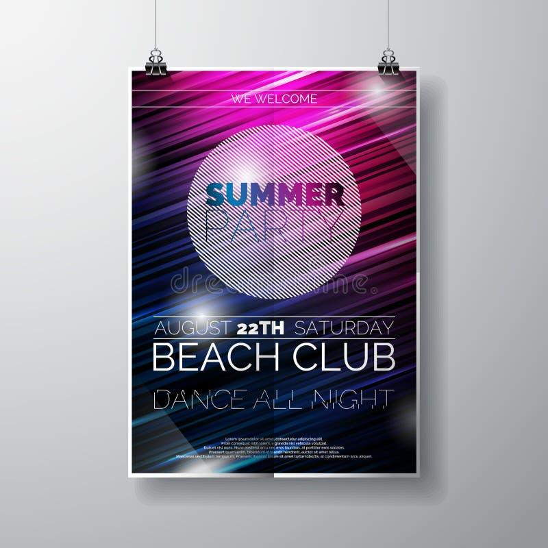 Vector de affichemalplaatje van de Partijvlieger op het thema van het de Zomerstrand met abstracte glanzende achtergrond stock illustratie