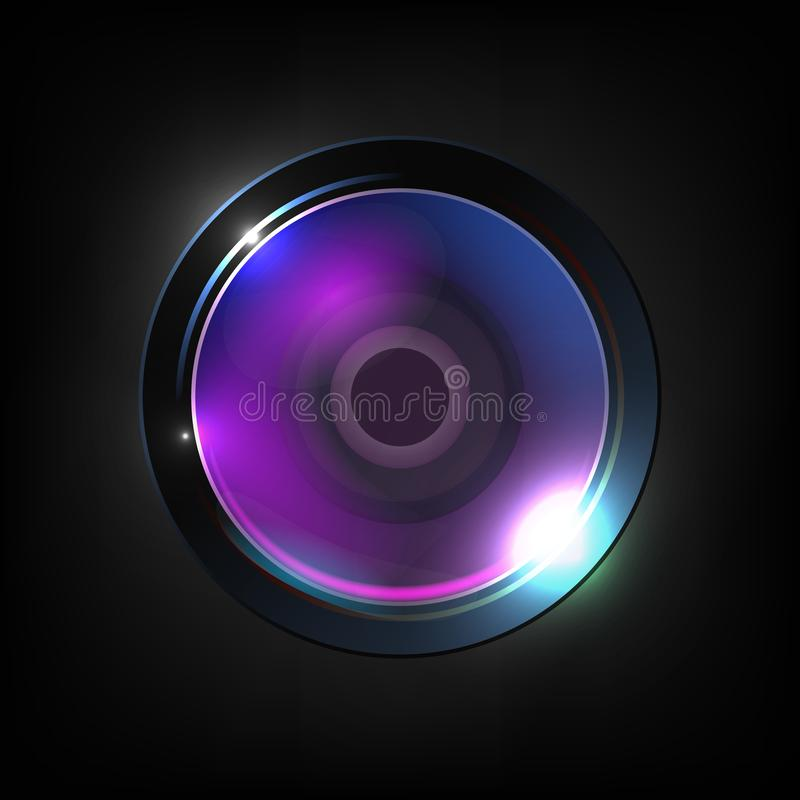 Vector de alta calidad realista de la lente óptica de la foto stock de ilustración