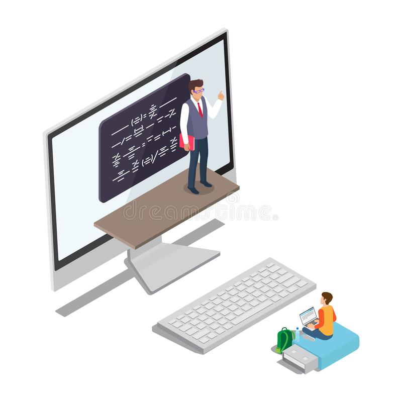Vector de aprendizaje en línea del concepto con el profesor Pupil libre illustration