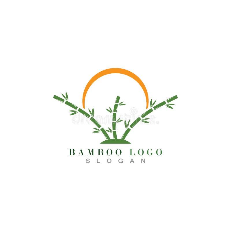 Vector de bambú del icono de la plantilla del logotipo ilustración del vector