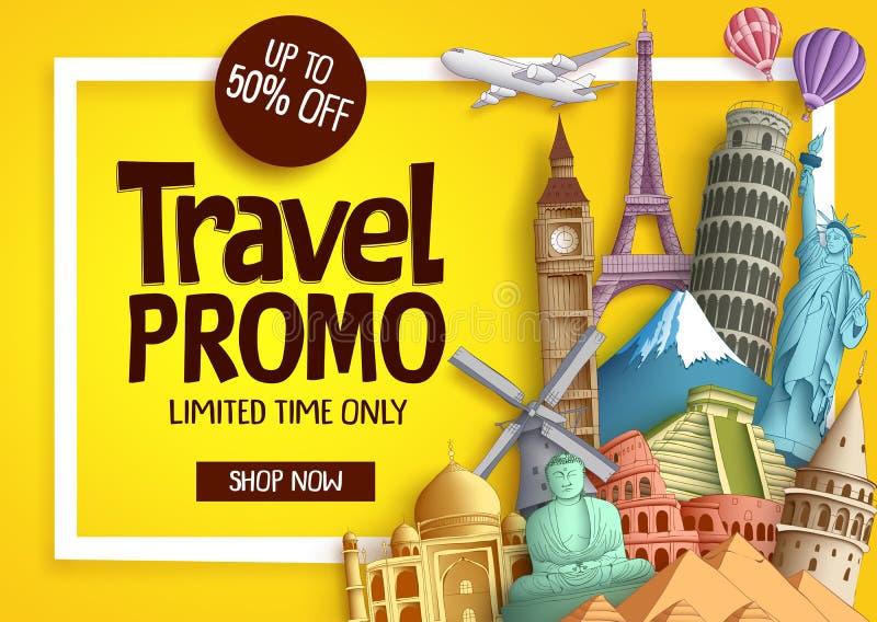 Vector de bannermalplaatje van reispromo met kortingstekst vector illustratie