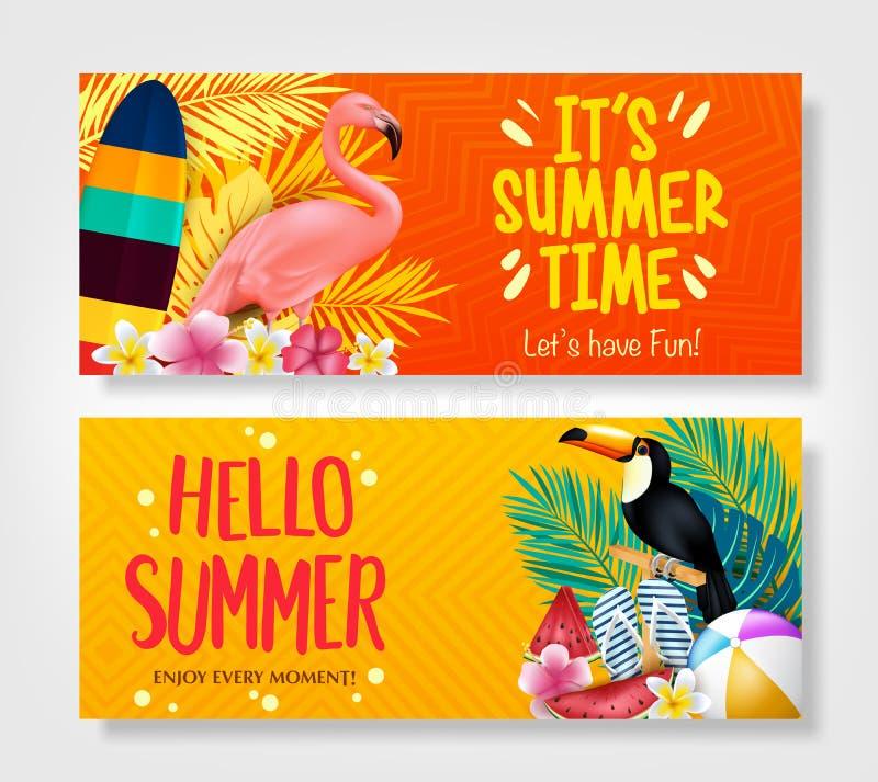 Vector de bannermalplaatje van de de zomerverkoop met witte ruimte voor tekst stock illustratie