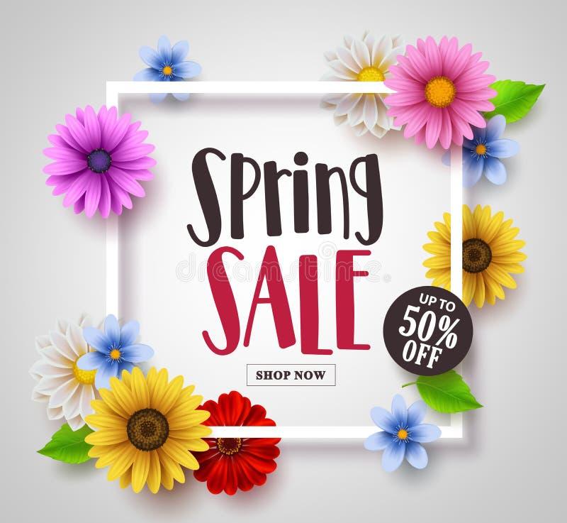 Vector de bannerontwerp van de de lenteverkoop met kleurrijk madeliefje, zonnebloem en bloemenelementen stock illustratie