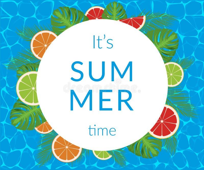 Vector de bannerontwerp van de de zomertijd met witte cirkel voor tekst en kleurrijke elementen vector illustratie
