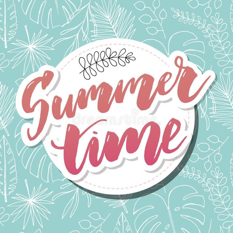Vector de bannerontwerp van de de zomertijd met witte cirkel voor tekst en kleurrijke strandelementen op witte achtergrond Vector stock illustratie