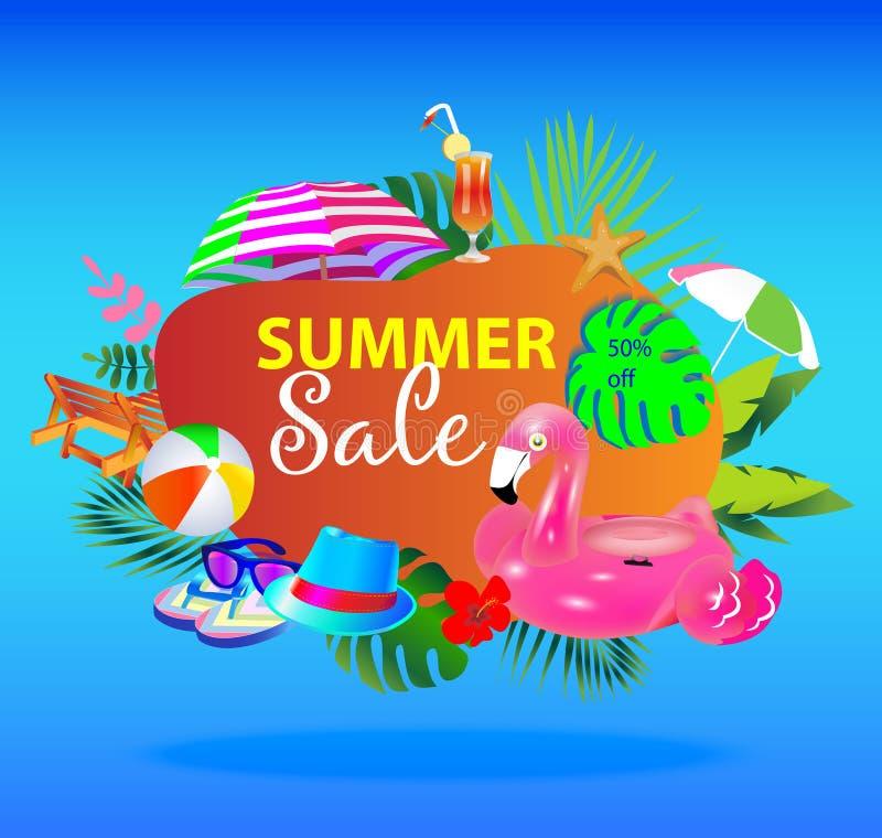 Vector de bannerontwerp van de de zomerverkoop met kleurrijke strandelementen stock illustratie