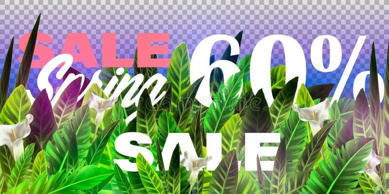 Vector de bannerontwerpsjabloon van de de lenteverkoop met Tropische palmbladen, installaties Negatieve ruimtetendens De affichev vector illustratie
