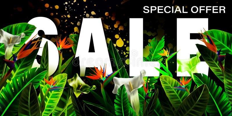 Vector de bannerontwerpsjabloon van de de zomerverkoop met Tropische palmbladen, installaties Negatieve ruimtetendens De affichev vector illustratie