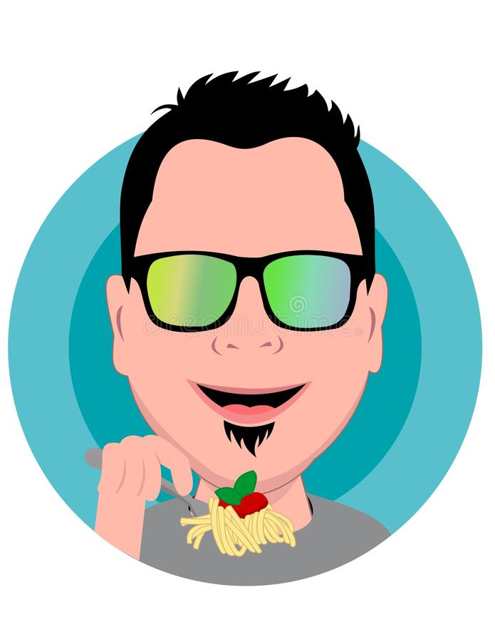 Vector - de Beeldverhaalmensen eten noedel royalty-vrije illustratie