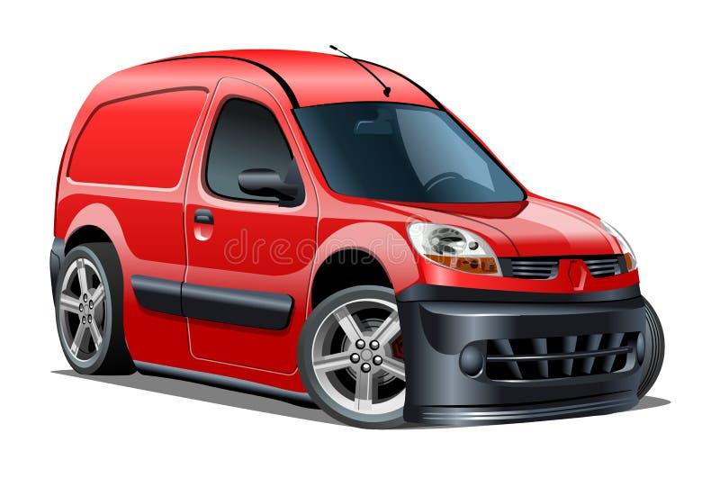 Vector de bestelwagen geïsoleerde om van de Beeldverhaallevering witte achtergrond vector illustratie