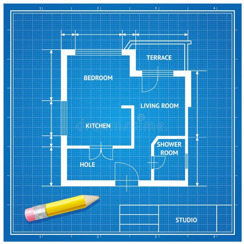 Vector de blauwdrukachtergrond van de meubilairarchitect royalty-vrije illustratie