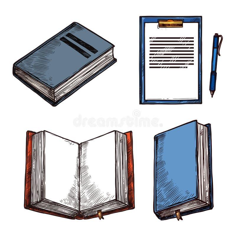 Vector de blocnotepictogrammen van schets oude uitstekende boeken abd royalty-vrije illustratie