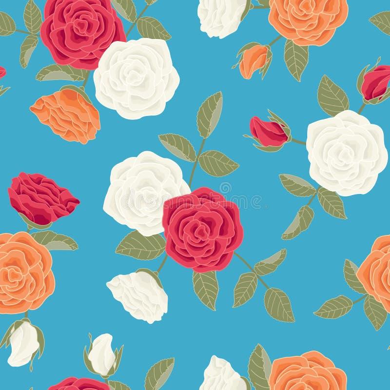 Vector de Bloemen van Rozen in Rood Witte Oranje dat op de Achtergrond van Turquoise Blauw wordt geplaatst naadloos Herhaal Patro royalty-vrije illustratie