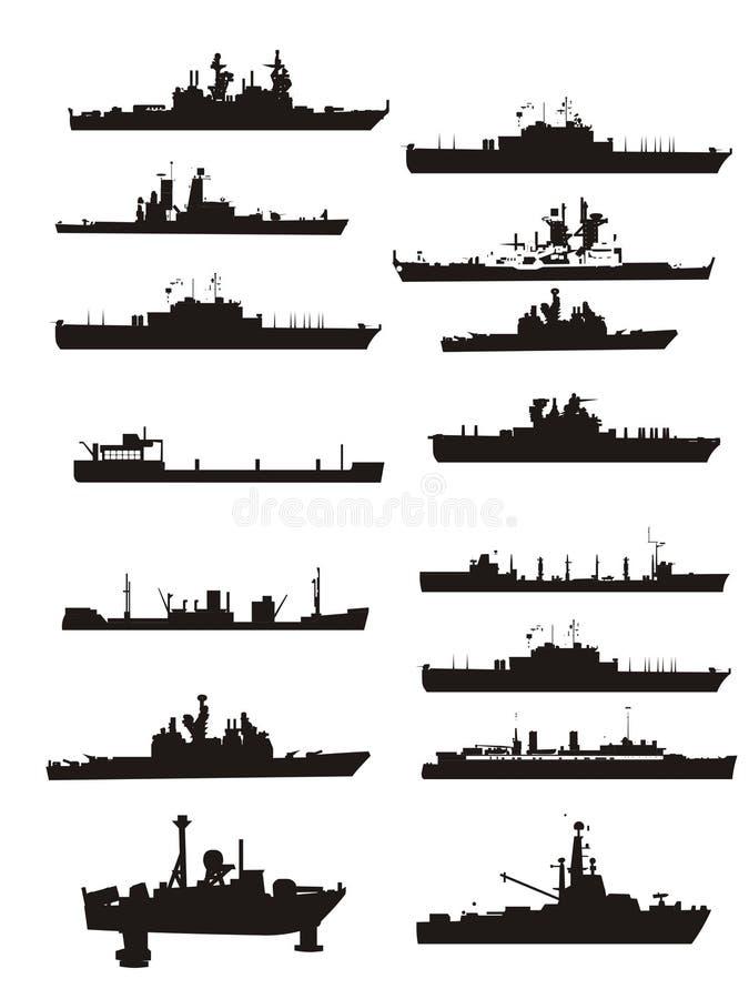 Vector de boot en het schipoverzichten van de inzameling vector illustratie