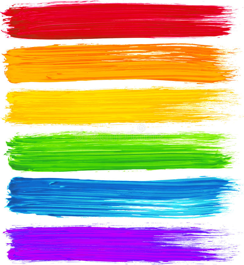 Vector de borstelslagen van de regenboogwaterverf royalty-vrije illustratie