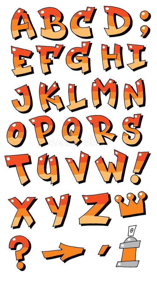 Vector de brievenalfabet van graffitidoopvonten voor ontwerpemblemen stock illustratie