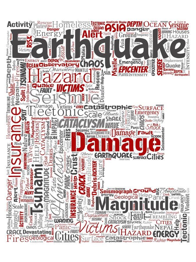 Vector de brievendoopvont E van de aardbevingsactiviteit vector illustratie