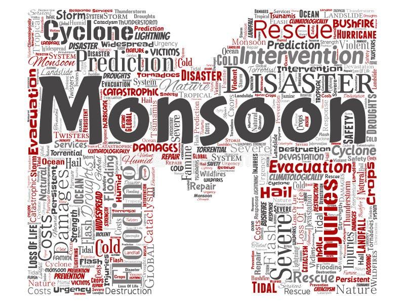 Vector de brievendoopvont M van het moesson gevaarlijke weer stock illustratie