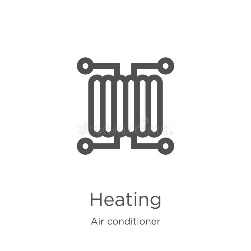 vector de calefacción del icono de la colección del aire acondicionado Línea fina ejemplo del vector del icono del esquema de la  stock de ilustración