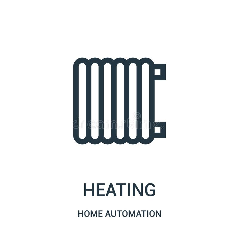vector de calefacción del icono de la colección de la automatización casera L?nea fina ejemplo del vector del icono del esquema d stock de ilustración