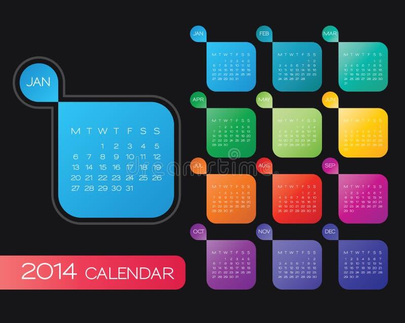 vector de 2014 calendarios stock de ilustración