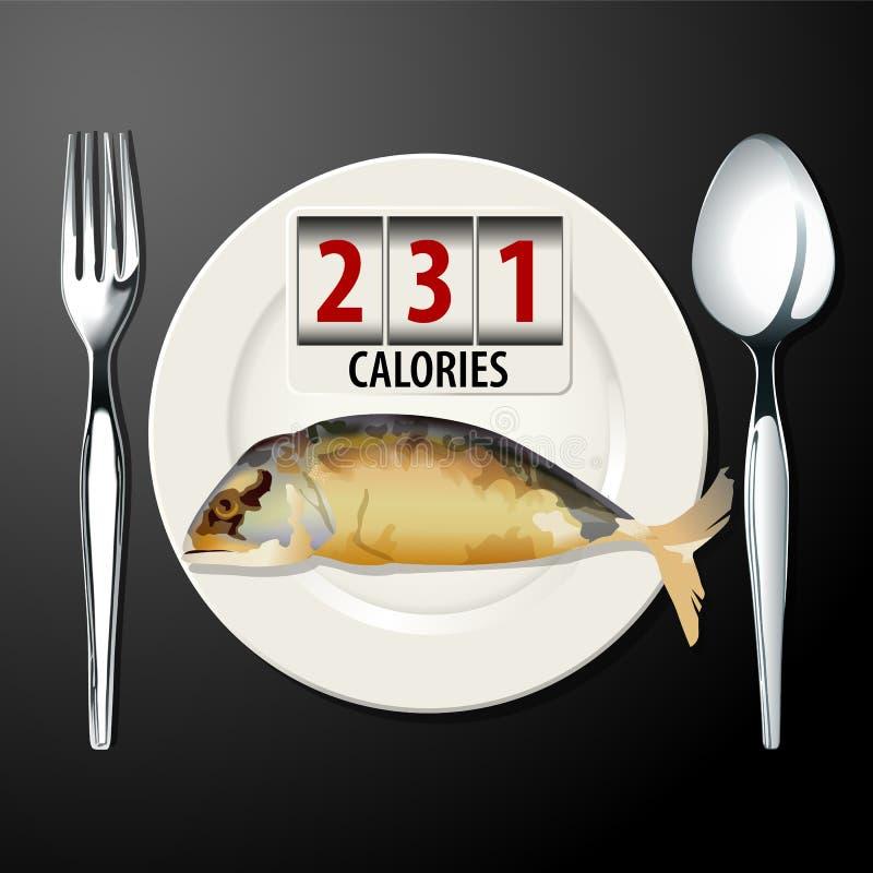 Vector de calorías en caballa ilustración del vector