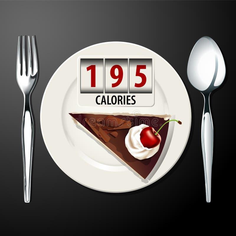 Vector de calorías en torta del bosque negro ilustración del vector