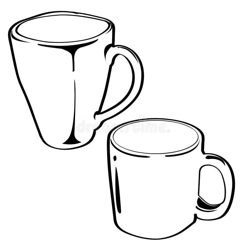 Vector de cerámica del esquema de la taza libre illustration
