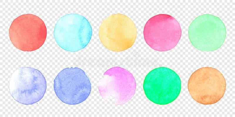 Vector de cirkelreeks van de pastelkleurwaterverf Kleurenvlek van de vlek van de watercolourplons op transparante achtergrond stock illustratie