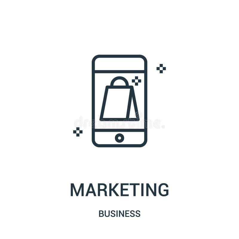 vector de comercialización del icono de la colección del negocio Línea fina ejemplo del vector del icono del esquema del márketin stock de ilustración