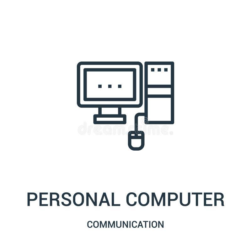vector de computadora personal del icono de la colección de la comunicación Línea fina ejemplo de computadora personal del vector libre illustration