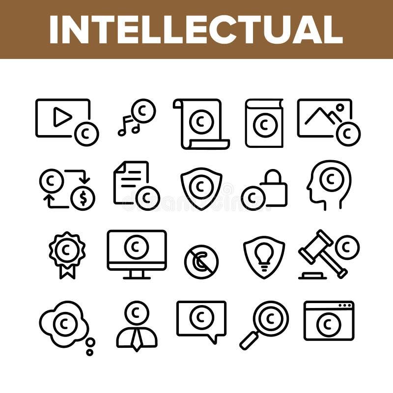 Vector de conjunto de iconos de colección de propiedad intelectual libre illustration