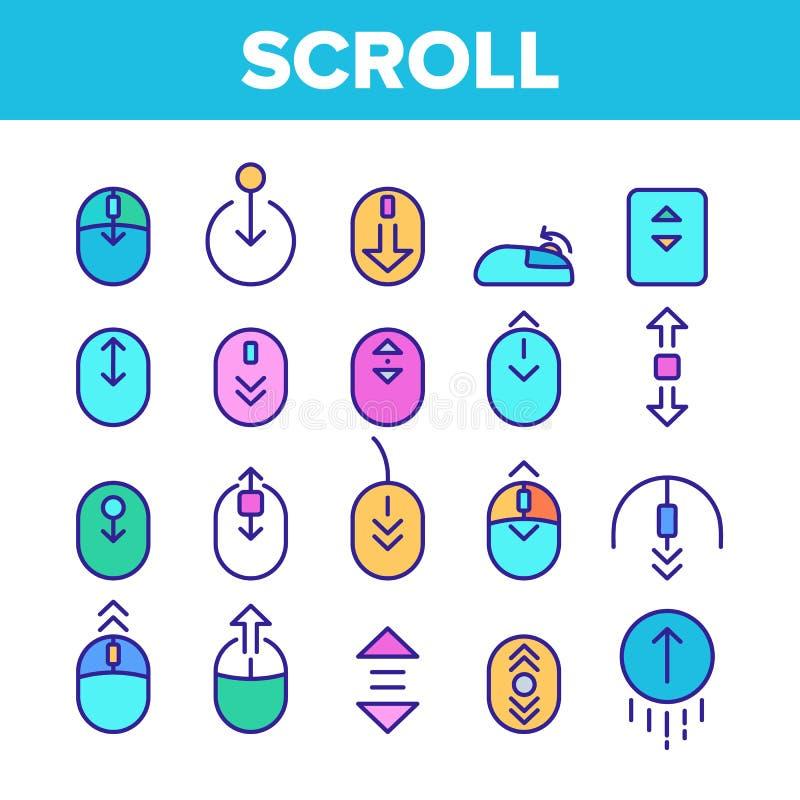 Vector de conjunto de iconos de signo de línea delgada de desplazamiento de color stock de ilustración