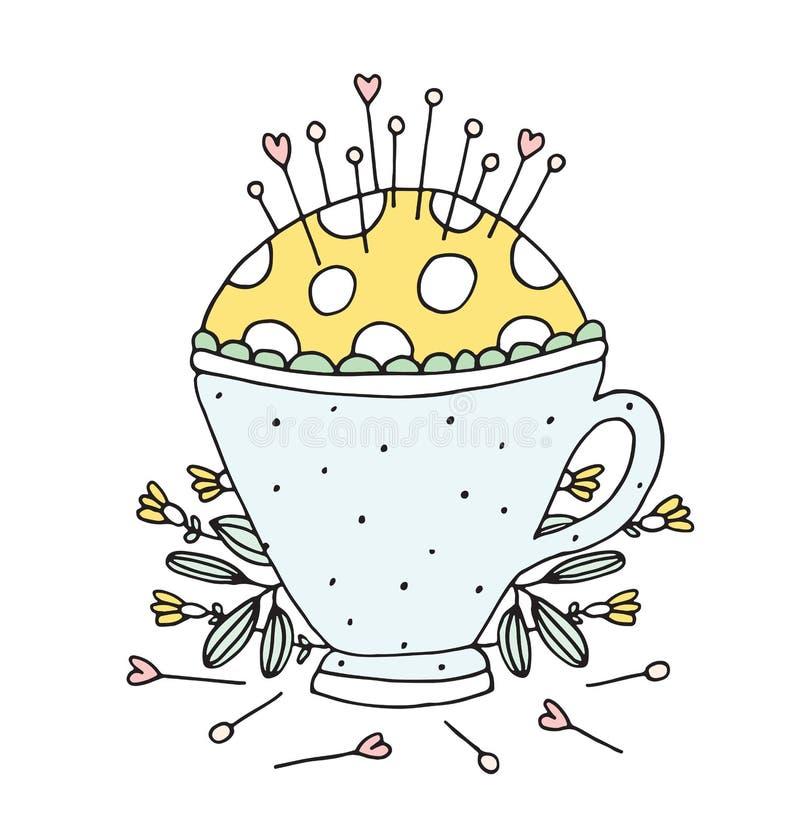 Vector de costura dibujado mano Pin Cushion Tea Cup fotografía de archivo libre de regalías