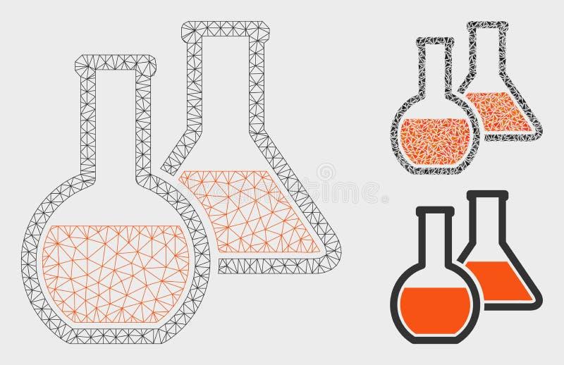 Vector de cristal Mesh Carcass Model de los frascos e icono del mosaico del triángulo libre illustration