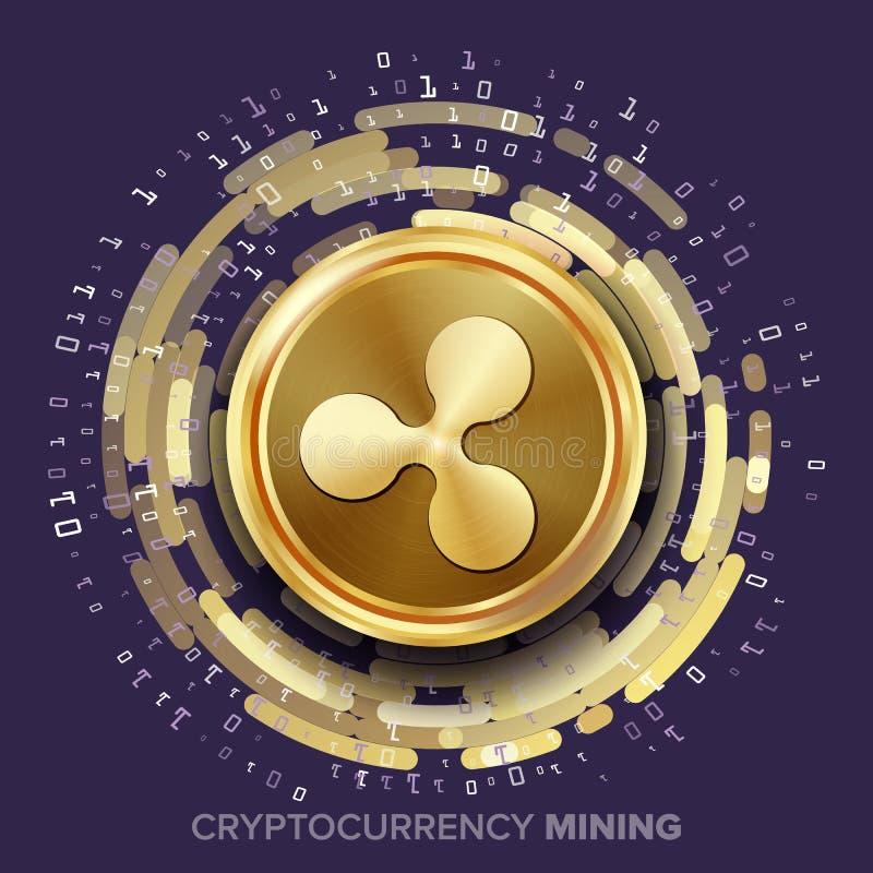 Vector de Cryptocurrency de la ondulación de la explotación minera Moneda de oro, corriente de Digitaces ilustración del vector