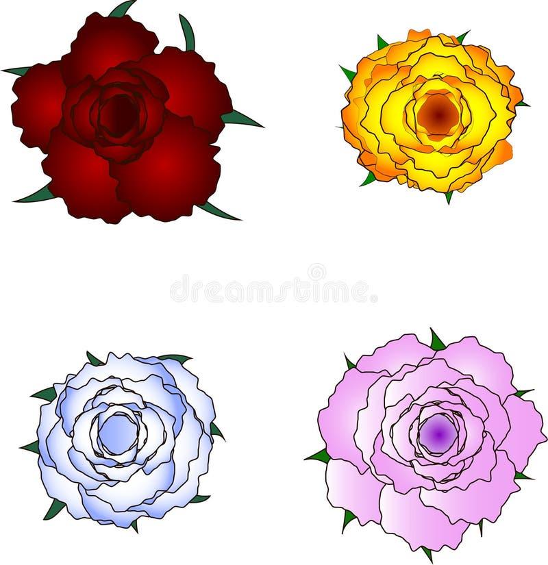 Vector de cuatro rosas imagenes de archivo