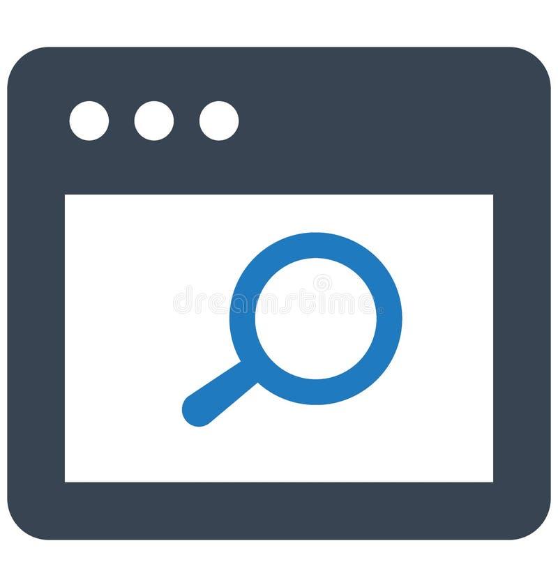 Vector de datos de la búsqueda relacionado con las ventanas del explorador Web y vector de datos completamente editable de la bús stock de ilustración
