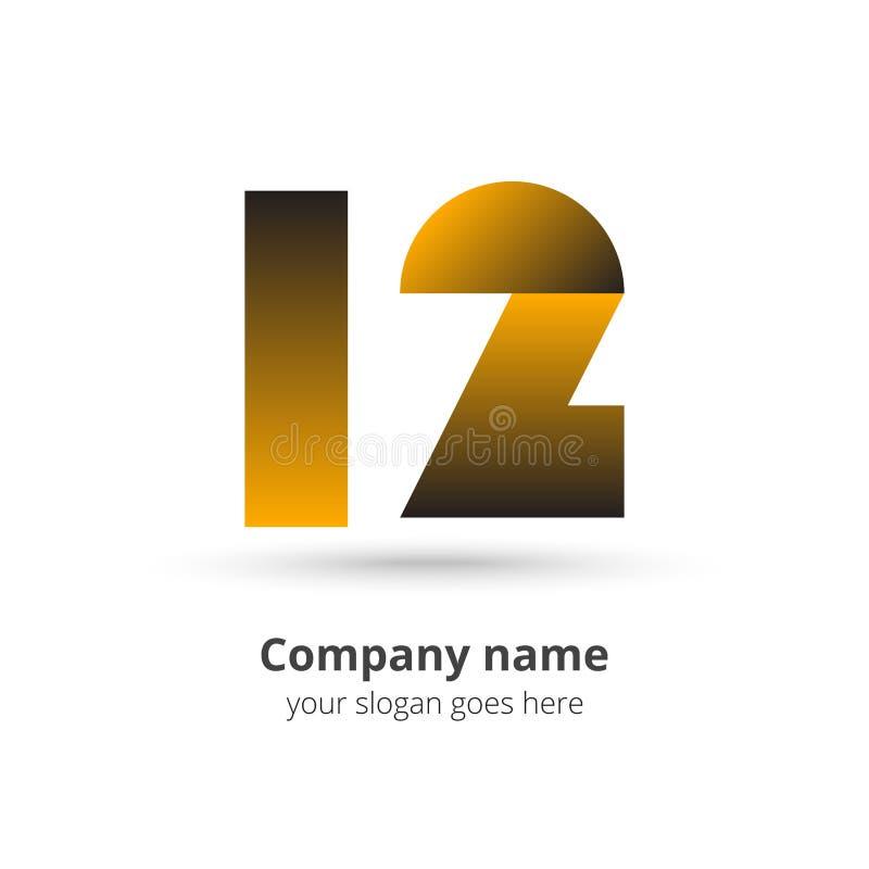 vector de 12 del logotipo números del icono con concepto de los años del color oro imagen de archivo